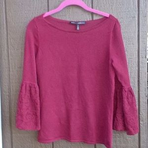 White House Black Market Burgundy Lace Sleeve Top